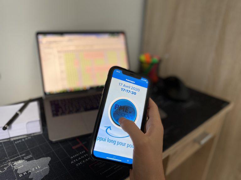 Badgeuse demande absence smartphone en télétravail