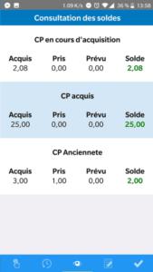 Consultation des soldes application mobile