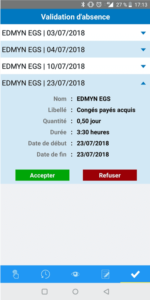 Validation des absences application mobile